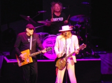 Rick Nielsen, son Daxx, and Robin Zander of Cheap Trick